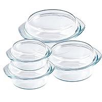 8tlg. Set Auflaufformen Glas 0,7 / 1,0 / 1,5 / 2,0L für den Backofen &...