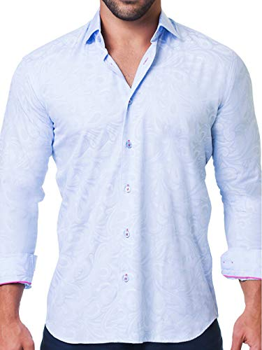 9bbf76bedca Maceoo Mens Designer Dress Shirt - Stylish   Trendy - Fibonacci Flow Blue -  Tailored Fit