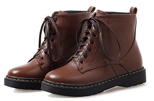 À Lacets Brun Aisun Bout Martin Femme Bottes Classique Rond Chaussures Plates 1nUWpYZUq0