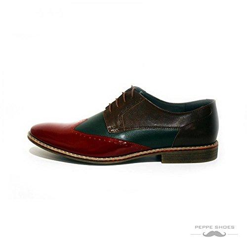 Modello Valentia - Handmade Italiennes Cuir Pour Des Hommes Coloré Chaussures Wingtip Oxfords - Cuir de vachette Cuir souple - Lacer
