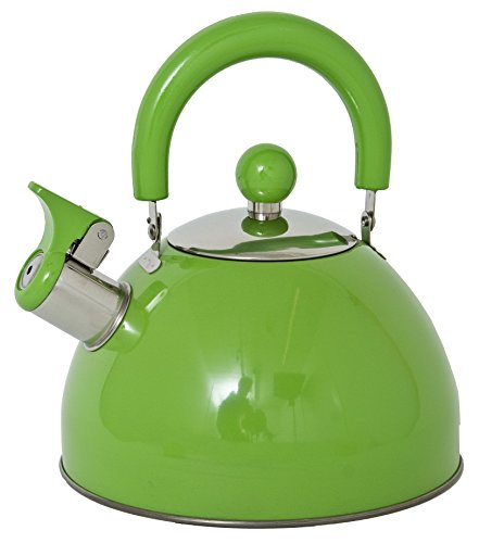 Lifetime Cooking Retro Style 2.5L Whistling Kettle Stainless Steel Green
