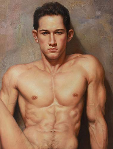 Art Prints Male Nude Painting Canvas Transfer Signed on Canvas Handsome Young Men fine Art Sale for Home Decor Wall Art (24Wx36L)