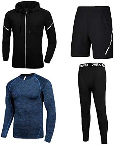 4本のトラックスーツメンズフィットネスジムウェア、パーカージャケット+ロングスリーブ+ルーズフィットショーツ+エクササイズタイツトレーニングトレーニングランニング用レギンス (Color : 2, Size : M)