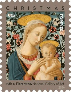 Florentine Madonna and Child USPS Forever First Class Postage Stamp U.S. Holiday Christmas Sheets (20 Stamps) (Booklets of 20 stamps) (5 - Usps Class Times First