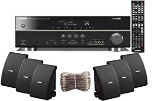 Yamaha 3D-Ready 5.1-Channel 500 Watts Digital Home Theater Audio/Video Receiver With a USB Digital Input and Connecting Cable to Play & Charge Your iPod or iPhone & Control Remotely + Set of 6 Yamaha All Weather Indoor / Outdoor 120 watt Wall Mountable Natural Sound 2-way Acoustic Suspension Speakers - Black + 100ft 16 AWG Speaker Wire