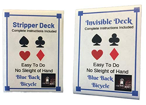 (London Magic Works Blue Back Stripper Deck and Invisible Deck Combo with Instructions for Over 125 Tricks)