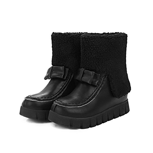 Allhqfashion Women's Round Closed Toe Low-Top Kitten-Heels Solid PU Boots Black M1fOeuEC