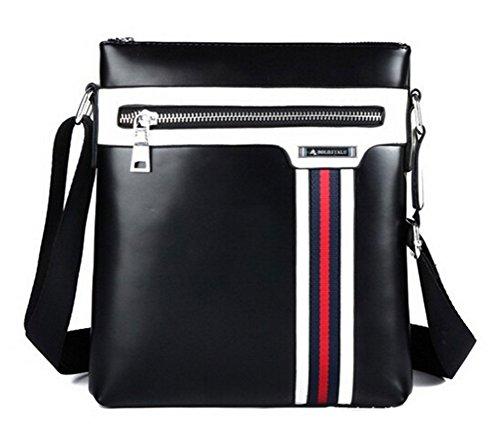 Buenocn Faux Leather Men Messenger Bag Outdoor Business Shoulder Bag Men's Travel Bag Lm0052 (black)