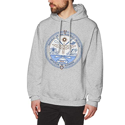 (X-JUSEN Men's Coat of Arms of Marshall Islands National Emblem Hoodies Sweatshirt Pullover Sweater, Cotton Hooded Tunic Shirt)