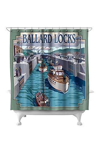 Lantern Press Seattle, Washington - Ballard Locks 8516 (74x74 Polyester Shower Curtain) ()