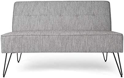 Christopher Knight Home Simona Modern Fabric Settee with Hair Pin Legs, Gray Texture