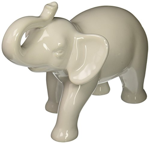 Abbott Collection Ceramic Elephant Figurine, White (Medium)