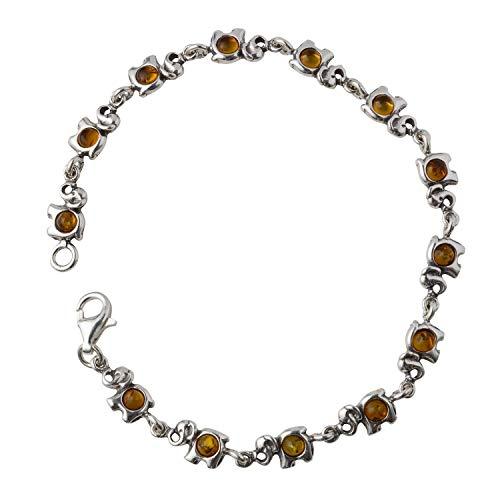 - HolidayGiftShops Sterling Silver Honey Baltic Amber Bracelet Elephants