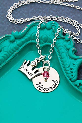 - Personalized Princess Crown Jewelry - DII AAA - Little Girls Gift - Handstamped Handmade Necklace - 5/8 Inch 15MM Disc - Custom Birthstone Color - Custom Name