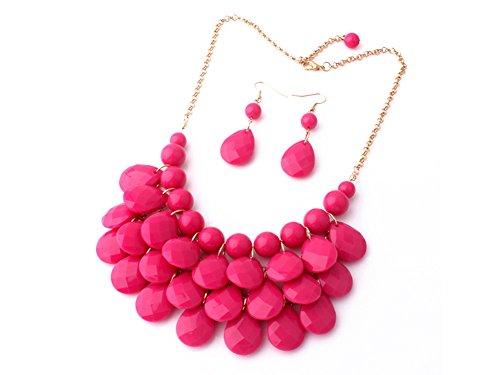 Bracelet Diamonds Sweet (Etiger®  Women's Fashion Design Vintage Waterdrop Raindrop Tier Necklace Earrings Sweet Style Chain Choker Earrings Jewelry Set (Rose))