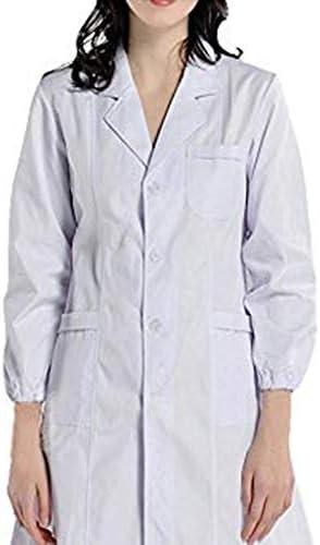 Allence biały damski męski strÓj laboratoryjny 100% bawełna biały płaszcz dla kobiet: Odzież