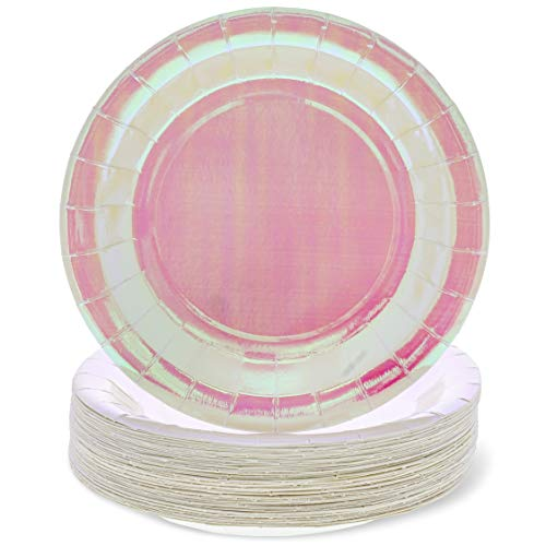 (Blue Panda 48-Pack Pink Holographic 9-Inch Disposable Party Plates for Appetizers, Lunch, Dessert and Dinner )