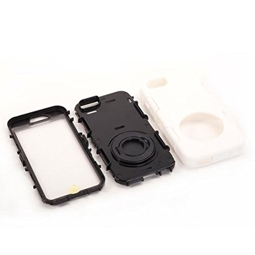 "Apple iPhone 6 4.7"" Outdoor Case Silikon Shookproof Ring Hülle Kickstand Weiß"