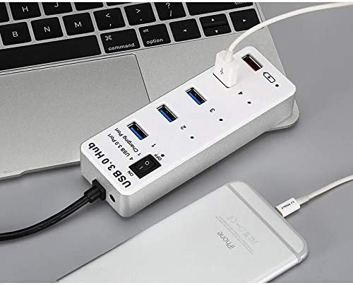 DUDETAO 4 Port USB 3.0 1 Port Fast Charging Hub with ON//Off Switch BYL-3011 White
