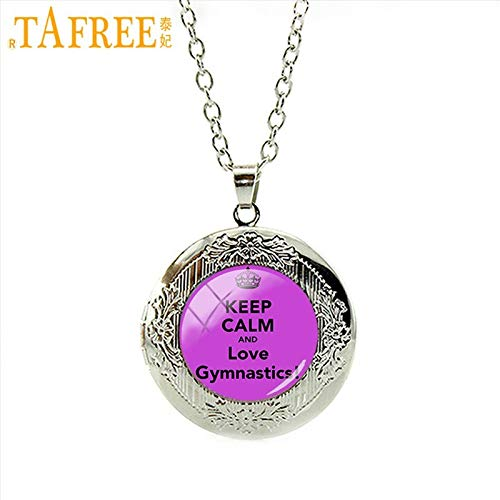 Pendant Necklaces - PE Sports Necklace Keep Calm Love Gymnastics Locket Dome Round Glass a Great Gift Men Women Special Jewelry SP147 - by Mct12-1 PCs