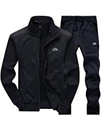 MACHLAB Men's Casual Sweat Suit Jogging Full Zip Sports Running Tracksuit