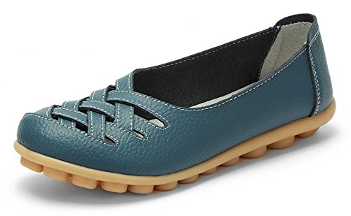 Chfso Mujeres Cómodo Sólido Cut Out Slip On Round Toe Low Top Low Heel Work Flats Azul