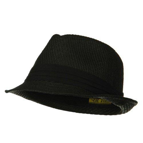 Over Size Fedora Hat - Black Black Band W08S58F