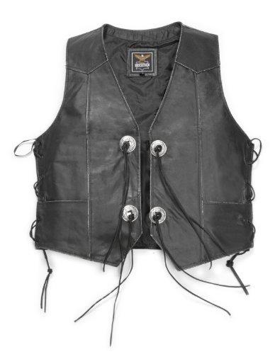 Leder Weste  Cowboyweste Bikerweste Rider Antikleder schwarz mit Adler Gr. S bis 5XL