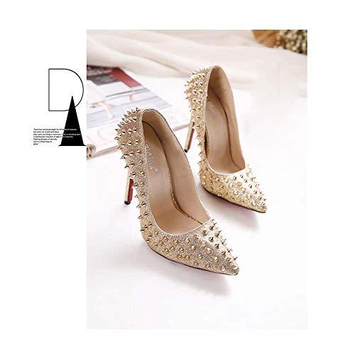 Pompes Fête Talons Nouveau Hauts Metallic Pointues Chaussures Rivet Printemps Soirée Ghfjdo Chaussures Femmes De Mode AO6xH5wwPq