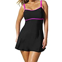 Chinatera Plus Size Women One-piece Push-up Padded Swim Dress Swimsuit