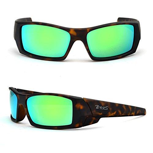 B.N.U.S Unisex Ranger Rectangular Sports Sunglasses Polarized for men womens Italian made Corning natural glass lenses (Frame: Matte Tortoise / Lens: Green Flash, - Sunglasses 4 U