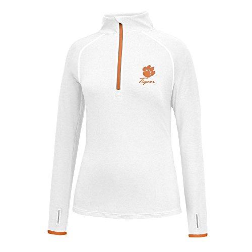J America NCAA Clemson Tigers Women's Script Logo Power Through Poly 1/2 Zip Sweater, Large, White/Orange - Clemson Tigers Logos