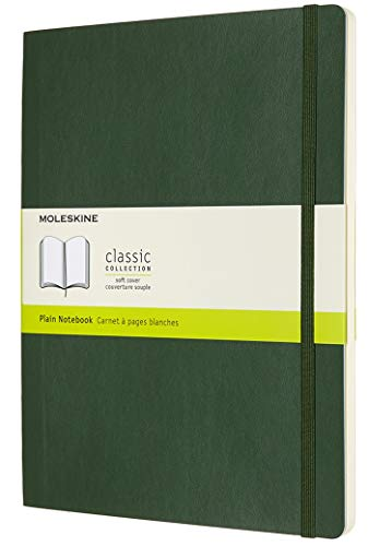 Moleskine Classic Notebook, Soft Cover, XL (7.5 x 9.5) Plain/Blank, Myrtle Green, 192 Pages