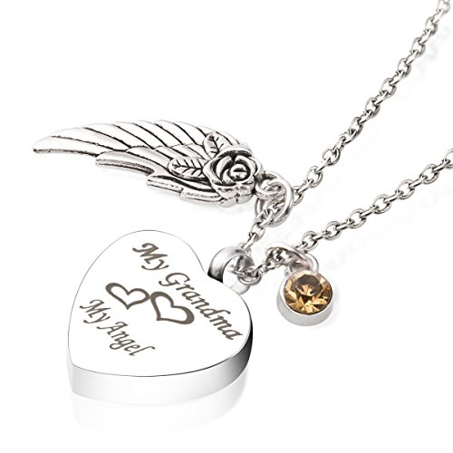 (Cremation Jewelry for Ashes My Grandma My Angel Wing Charm Birthstone Citrine Urns Necklace Memorial Keepsake Pendant)