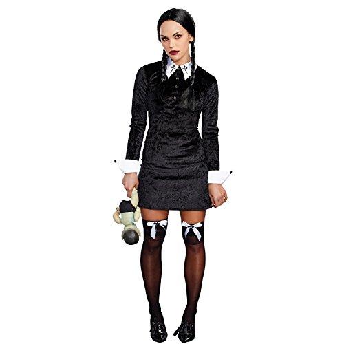Dreamgirl Women's Friday Velvet Dress Halloween Costume, Black/White, -