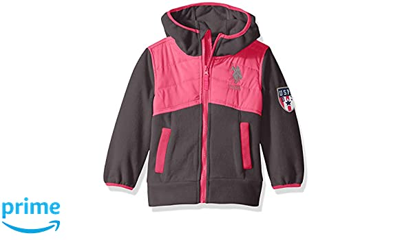 US Polo Association Girls Polar Fleece Jacket with Quilted Dewspo