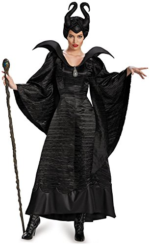 Disguise Women's Disney Maleficent Christening Gown Deluxe Costume, Black, (Foam Headpiece)