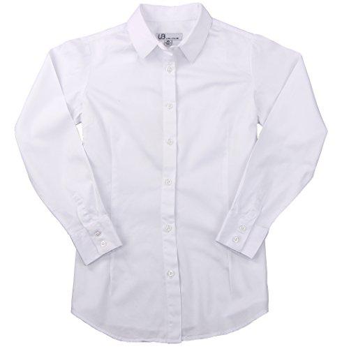 Cotton Shirt Blouse (Women's 100% Cotton Classic Long Sleeve Shirt (White, Medium))