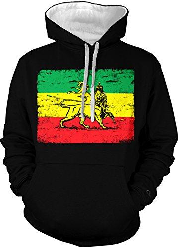 Rastafarian Flag - Haile Selassie Flag Men's Two Tone Hoodie Sweatshirt (Large, Black/White (Rasta Clothing)