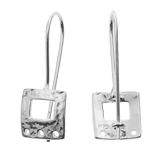 2 pcs .925 Sterling Silver Square Earwires Kidney Chandelier Dangle Earring Connector/Findings/Bright