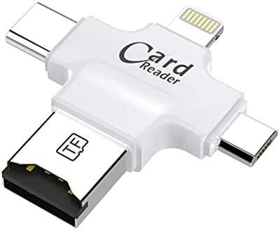 4 en 1 tipo C/Lightning/Micro USB/USB 2.0 lector de tarjetas de memoria Micro SD lector de tarjetas para iPad/iPhone Teléfono Android OTG lector