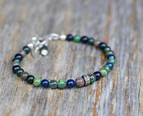 (Genuine Black Opal Gemstone Bracelet - Pave Diamond - Graduation Gift - 7