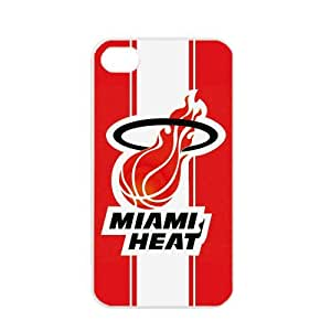 NBA Miami Heat logo Apple iPhone 4 4S TPU Soft Black or White cases for basketball Heat fans (White)