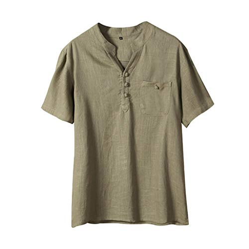 Men's Summer Ethnic Style Cotton Linen Pure Color Short Sleeve T-Shirts Tops]()