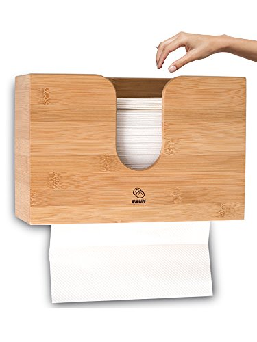Bamboo Paper Towel Dispenser For Kitchen & Bathroom - Wall Mount / Countertop Multifold Paper Towel, C-Fold, Zfold, Tri fold Hand Towel Holder Commercial from eBun