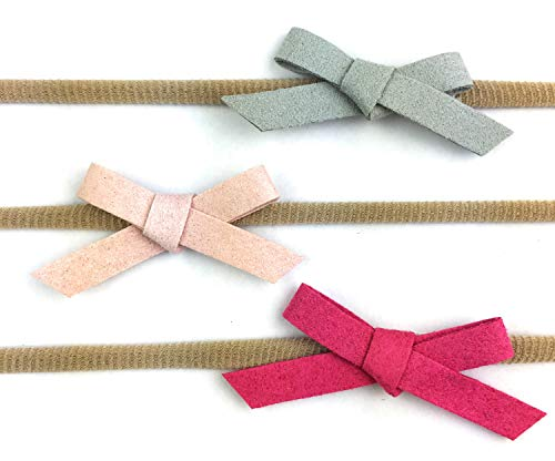 Baby Wisp Infant Faux Suede Hand Tied Bows Baby Headbands Girls Newborn (Infant (3-12M)) ()