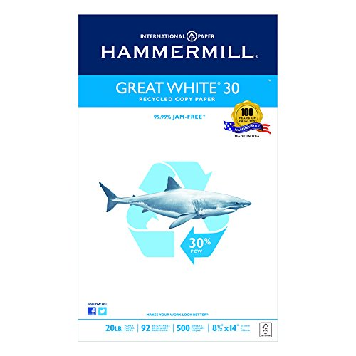 Hammermill Great White Recycled Copy Paper, 92 Brightness, 20 lb, Legal Size (8.5 x 14), 500 Sheets (Hammermill Recycled Paper)