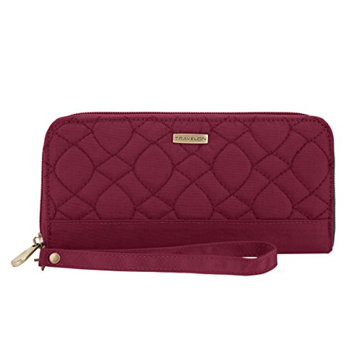 Travelon RFID Blocking Signature Quilted Single Zip Wallet, Ruby