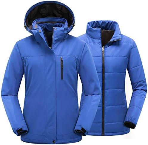 PTSOC Women's Winter 3-in-1 Waterproof Ski Jacket Outdoor Mountain Snow Coat Rain Jacket with Detachable Hood