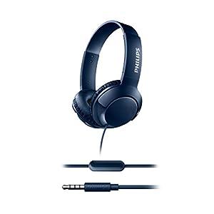 Philips BASS+ SHL3075BL Casque Filaire avec Micro, Télécommande, Isolation Sonore, Basses Puissantes, Bleu